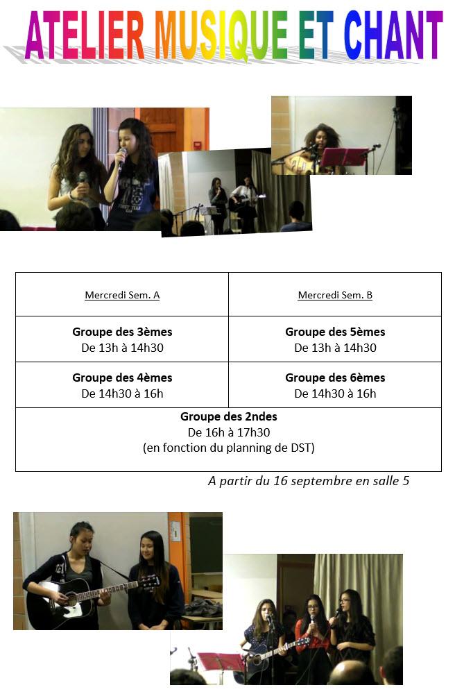 Ateliers Musique et Chant 2015 - 2016