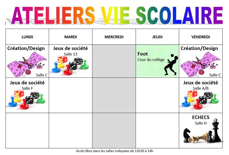 Ateliers Vie Scolaire 2015 - 2016