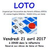 Loto 2017 le Vendredi 21 Avril à 20h